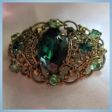 Ornate Czechoslovakia Signed Emerald Green Austrian Crystal 1930s Vintage Brooch Pin