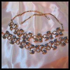 Beautiful Cornflower Blue  Necklace  Bracelet Demi Parure Set