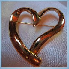 Trifari Modernist Heart Vintage Pin Brooch