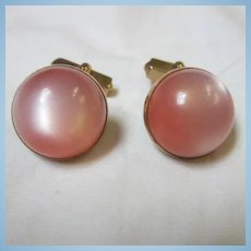 Vintage Pink Moonglow Cufflinks Signed Swank