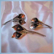 Sterling Silver Calla Lilies Pin and Earrings Set Hand wrought by Temming