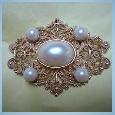 Fabulous Huge Mabe Pearls fx Statement Piece Vintage Brooch Pin