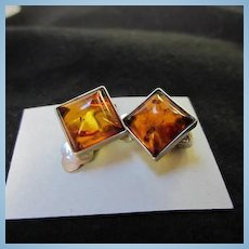 Classic Genuine Baltic Amber Sterling Silver Clip Vintage Earrings 925
