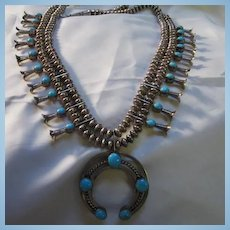 Native American Signed Reversible Turquoise Coral Sterling Silver Squash Blossom Necklace