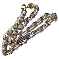 Fabulous Double Link Necklace White Enamel & Gold Plate 24 inch  Vintage Necklace