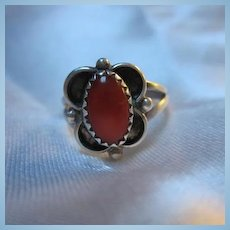 Native American Coral Hand made Sterling Silver Vintage Ring