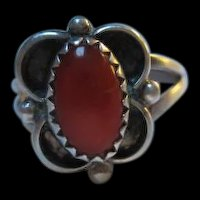 Native American Coral Hand made Sterling Silver Ring