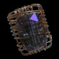 Fabulous Huge Purplish Iridescent Emerald Cut Top Hand made Vintage Statement Ring