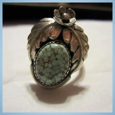 Native American Matrix Turquoise Sterling Silver Hand made Vintage Ring