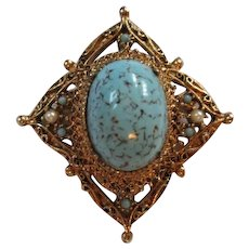 Turquoise Art Glass Matrix Stone Brooch Pendant