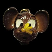 Whimsical Enamel Mouse with Bee Bug on its Nose Vintage Pendant
