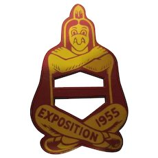 Vintage Leather Neckerchief Boy Scout Slide Exposition 1955 BSA