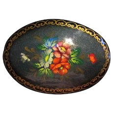 Lovely Signed Hand painted Russian Oval Flower Art Vintage Brooch Pin