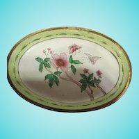 Pair Chinese Export Green & Pink Enamel Oval Vanity Trays