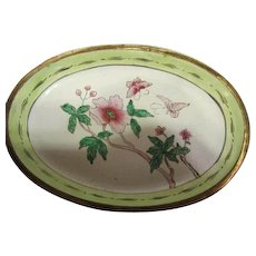 Pair Chinese Export Green & Pink Enamel Oval Vanity Trays