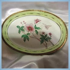 Pair of Older Chinese Export Green & Pink Enamel Oval Pin Trays