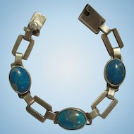 Gorgeous Taxco Sterling Silver Turquoise Link Bracelet 925 Handmade Signed by Artist