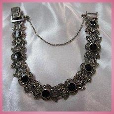 Gorgeous Onyx  Marcasite Sterling Silver Bracelet