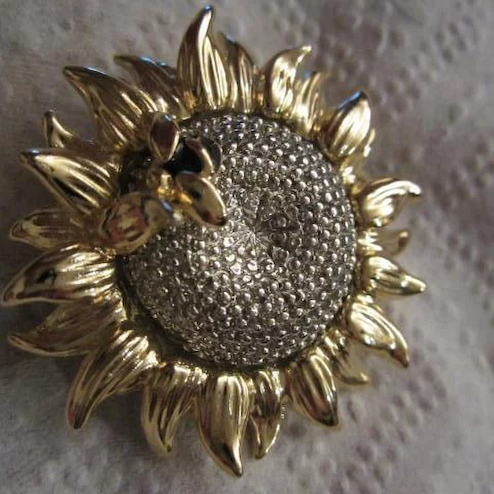 6005f2d14 Vintage signed Bee on Sunflower Pin : Tiger Lily Emporium   Ruby Lane