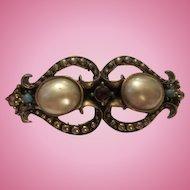 Gorgeous Victorian Desig fx Mobe Pearl, Turquoise & Garnet Engraved Vintage Bangle Bracelet