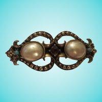 Gorgeous Victorian Design fx Mobe Pearl Turquoise Garnet Cabochon Bangle Bracelet