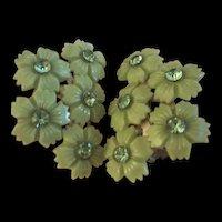 Lime Celluloid Rhinestone Flower Clip Earrings