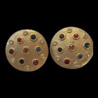 Wonderful Bezel Set Jeweled Gold tone Clip Vintage Earrings