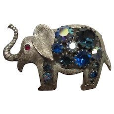Fabulous Elephant Figural  Blue Aurora Borealis  AB Stones Silver tone Trunk Up Vintage Brooch Pin
