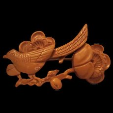 Lovely Hand Carved Bird on Branch & Flowers Vintage Wood Brooch/Pin
