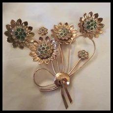 Gorgeous CoroCraft Sterling Vermeil Retro Flower Brooch Earrings Set