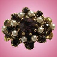 Beautiful Pristine fx Amethyst Pearl Adjustable Ring