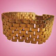 Classic Gold Plated Solid Tank Weaved Great Pretender Vintage Bracelet