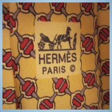 Hermes Paris Silk Horse Bit  Men's Neck Tie Made in France