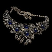 Wonderful Hand Made Ethnic Statement Necklace Sapphire Blue Glass Cabs BOHO