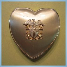 Vintage Sterling Silver Navy Emblem WW11 Sweetheart Powder Compact Mirror Hinge Co Signed