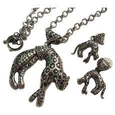 Bold Leopard Silver tone AB Pendant Great Chain Earrings Set