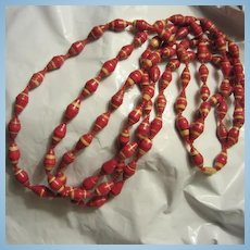 Vintage Triple Strand Red Paper Hand Made Bead Necklace 24""