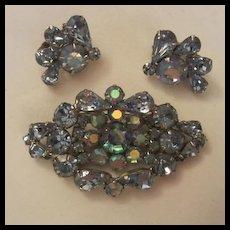 Amazing Weiss  Blue AB  Brooch Earrings Set