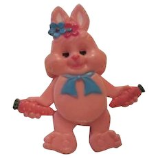 Fun Pink Celluloid Easter Bunny Pull String Eyes  Arms, Legs Pin