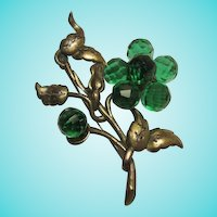 Magnificent Statement Green Faceted Glass Hand Wired Flower Vintage Brooch Pin