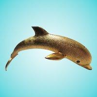 Amazing Huge Dolphin Figural Shoulder Vintage Statement Brooch Pin