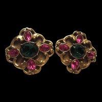 Gorgeous Design Fuchsia Emerald Green Austrian Crystal Rhinestone Vintage Clip Earrings