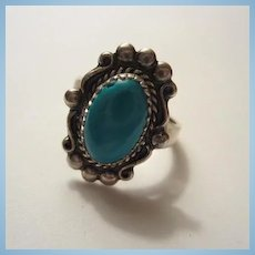 Wonderful Signed Sleeping Beauty Turquoise Native American Sterling Silver Vintage Ring Size 7