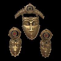 Fantastic Quality Face Mask Vintage Brooch Earrings Signed Set