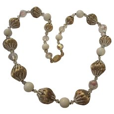 Fabulous Vendome Signed Brushed Textured Gold plate and AB Glass Vintage Necklace