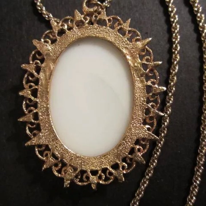 Signed Cameo Portrait Filigree Frame 30 Inch Rope Chain Necklace ...