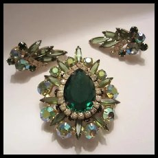 Rare Spectacular D&E Juliana Emerald Crystal Brooch Pendant  Earrings Demi Parure