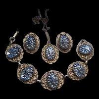 Blue Reverse Molded Iridescent Art Glass Cabochons Parure Bracelet Pendant Earrings Set