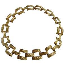 Substantial Vintage Anne Klein Classic Collar Matte Gold Plate Necklace