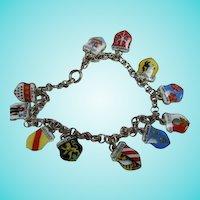 Fabulous Traveler Souvenir Enamel City Shield Charms Germany Hallmarked Silver Vintage Bracelet